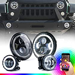 Xprite Bluetooth Controlled 7 Inch RGB Halo LED Headlights